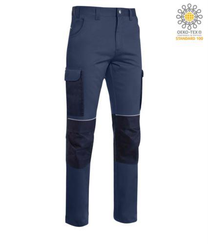Pantaloni stretch multitasche da lavoro con tessuto indura; profili rifrangenti sotto la cintura e alle ginocchia. Colore: Blu