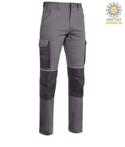 Pantaloni stretch multitasche da lavoro con tessuto indura; profili rifrangenti sotto la cintura e alle ginocchia. Colore: Grigio