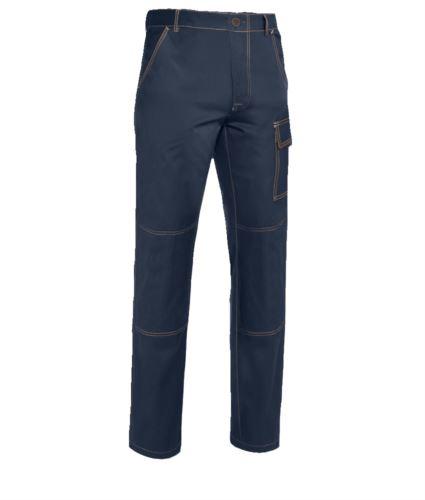 Pantaloni da lavoro multitasche 100% Cotone, cuciture a contrasto. Colore: Blu