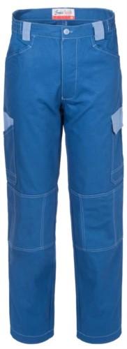Pantaloni da lavoro multitasche bicolore in cotone irrestringibile, dettagli e cuciture a contrasto. Colore Azzuro e celeste