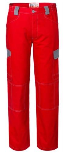 Pantaloni da lavoro multitasche bicolore in cotone irrestringibile, dettagli e cuciture a contrasto. Colore Rosso e grigio