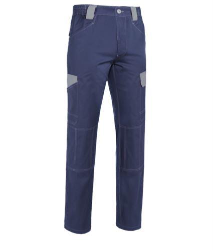 Pantaloni da lavoro multitasche bicolore in cotone irrestringibile, dettagli e cuciture a contrasto. Colore Blu e grigio