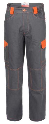 Pantaloni da lavoro multitasche bicolore in cotone irrestringibile, dettagli e cuciture a contrasto. Colore Grigio e arancio