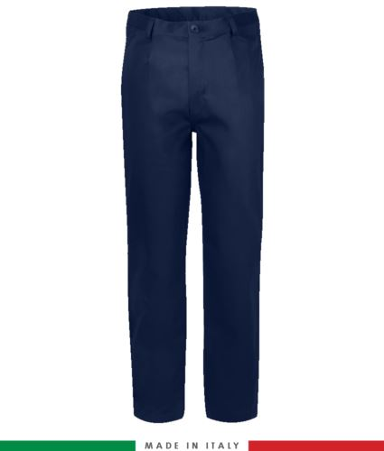 Pantalone ignifugo, antiacido, antistatici, multitasche, Made in Italy, certificato EN 11611, EN 1149-5, EN 13034, CEI EN 61482-1-2:2008, EN 11612:2009, colore blu navy,  pantalone ignifugo, pantalone antistatico, pantalone antiacido, pantalone saldatura