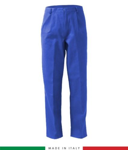 Pantalone ignifugo, antiacido, antistatico, multitasche, Made in Italy, certificato EN 11611, EN 1149-5, EN 13034, CEI EN 61482-1-2:2008, EN 11612:2009, colore azzurro royal