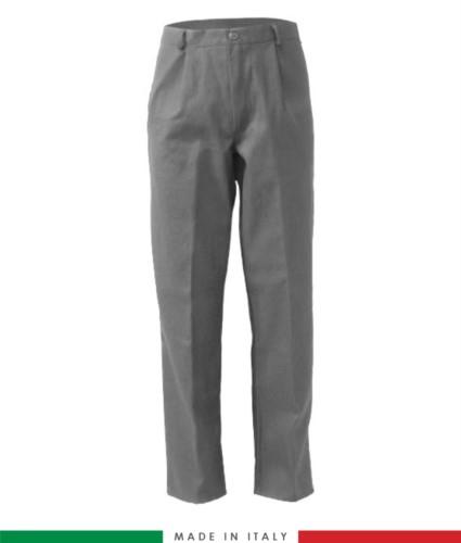 Pantalone ignifugo, antiacido, antistatico, multitasche, Made in Italy, certificato EN 11611, EN 1149-5, EN 13034, CEI EN 61482-1-2:2008, EN 11612:2009, colore grigio