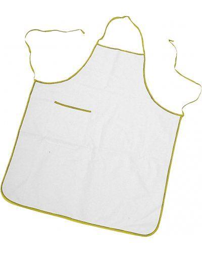 Parannanza bicolore con tasca, bordo perimetrale e fianchi con lacci di colore in contrasto, tasca applicata al lato destro, con bordino di colore in contrasto, cuciture con filo, colore bianco bordo giallo