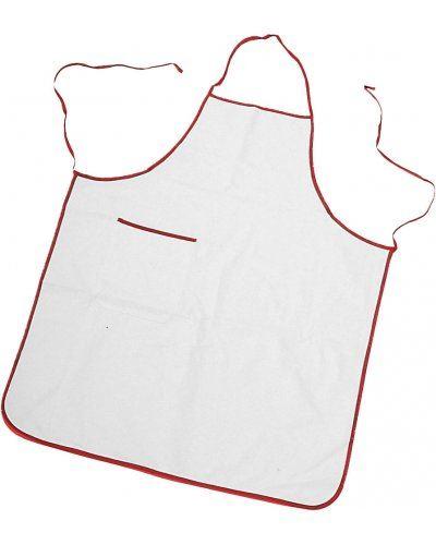 Parannanza bicolore con tasca, bordo perimetrale e fianchi con lacci di colore in contrasto, tasca applicata al lato destro, con bordino di colore in contrasto, cuciture con filo, colore bianco bordo rosso