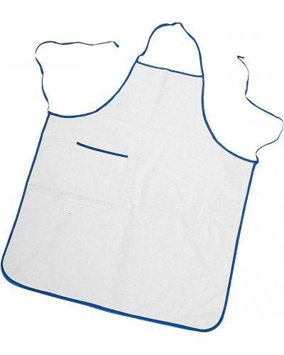 Parannanza bicolore con tasca, bordo perimetrale e fianchi con lacci di colore in contrasto, tasca applicata al lato destro, con bordino di colore in contrasto, cuciture con filo, colore bianco bordo Azzurro Royal