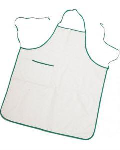Parannanza bicolore con tasca, bordo perimetrale e fianchi con lacci di colore in contrasto, tasca applicata al lato destro, con bordino di colore in contrasto, cuciture con filo, colore bianco bordo verde