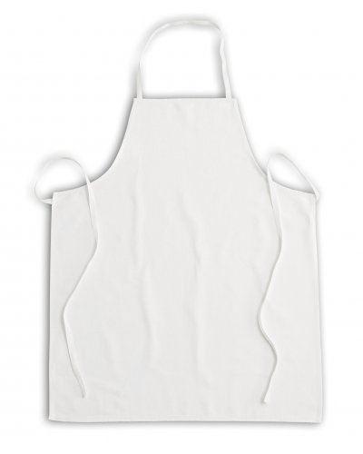 Parannanza senza tasche, con pettorina, lacci in fetuccina di cotone al collo e ai fianchi, cuciture con filo in poliestere, colore bianco