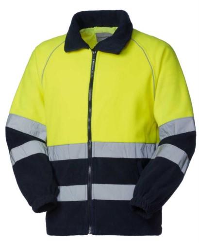 Pile bicolore ad alta visibilità, chiusura con zip, doppia banda rifrangente al giro torace e alle maniche, certificato EN 20471, colore giallo/blu