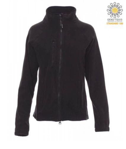 Pile donna zip lunga con tasca sul petto e due tasche. Cerniera con doppio cursore. Colore nero