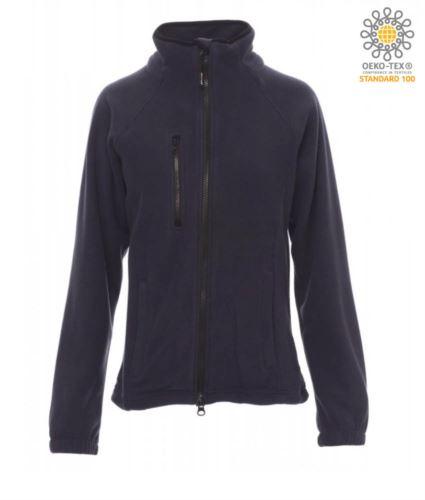 Pile donna zip lunga con tasca sul petto e due tasche. Cerniera con doppio cursore. Colore blu navy