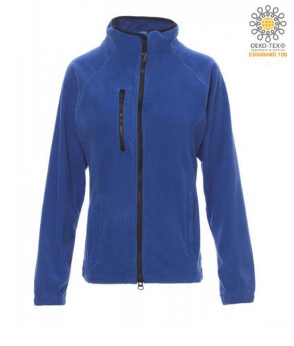 Pile donna zip lunga con tasca sul petto e due tasche. Cerniera con doppio cursore. Colore Azzurro Royal