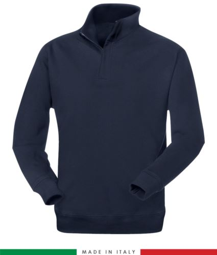 Pile zip corta, ignifugo e antistatico, maniche a giro e polso con elastico, colore blu navy, certificato EN 1149-5, EN 11612:2009
