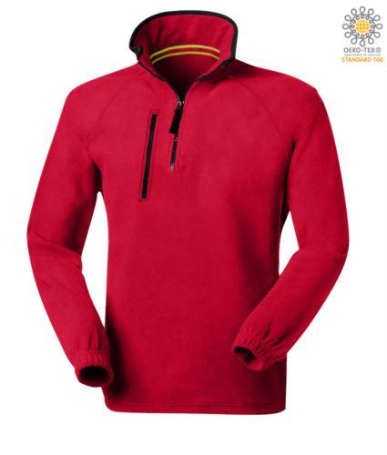 Pile zip corta, due tasche con un taschino chiuso con zip. Colore: Rosso