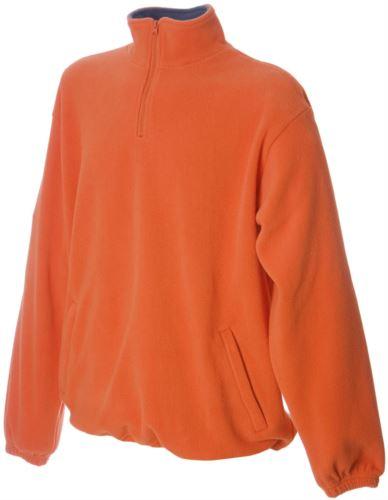 Pile zip corta antipilling, interno collo in contrasto, due tasche coperte con zip, polsini elastici colore arancione