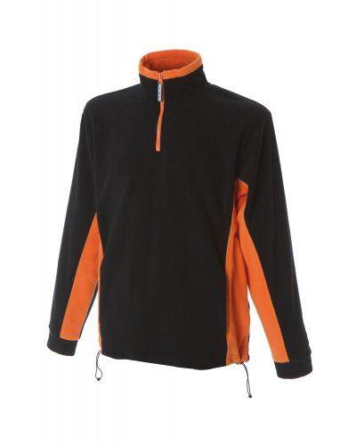 Pile bicolore antipilling zip corta, due tasche. Colore: Nero/Arancione