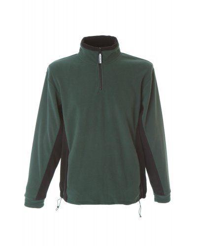 Pile bicolore antipilling zip corta, due tasche. Colore: Verde/Nero
