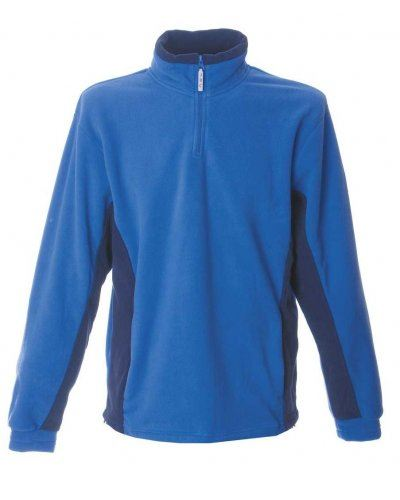 Pile bicolore antipilling zip corta, due tasche. Colore: Azzurro Royal/Nero