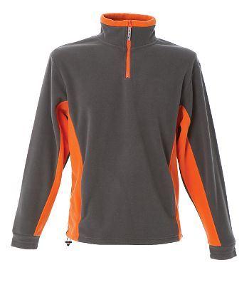Pile bicolore antipilling zip corta, due tasche. Colore: Grigio/Arancione