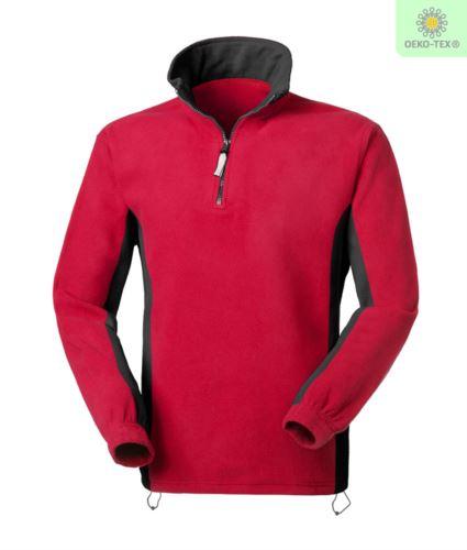 Pile bicolore antipilling zip corta, due tasche. Colore: Rosso/Nero