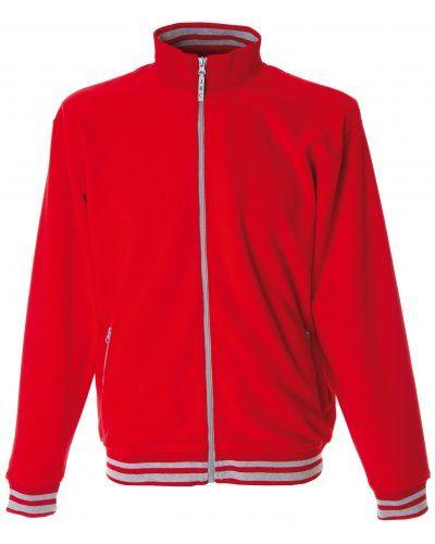 Pile zip lunga bicolore, collo, vita, polsini con righe a contrasto; colore: rosso/grigio