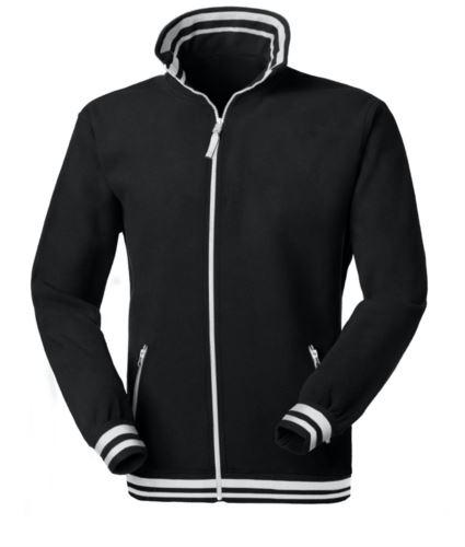 Pile zip lunga bicolore, collo, vita, polsini con righe a contrasto; colore: nero/bianco
