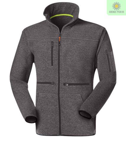 Pile zip lunga con tessuto Knitted fleece, con una tasca sul petto chiusa con zip, cerniera in contrasto. Colore: Grigio Scuro