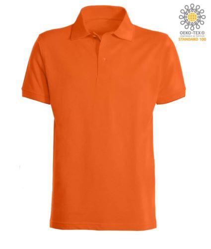 Polo a maniche corte con fondo manica in costina in cotone. Colore Arancione