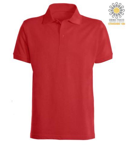 Polo a maniche corte con fondo manica in costina in cotone. Colore Rosso