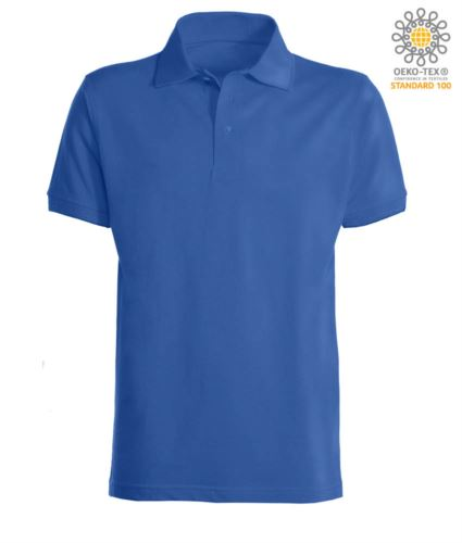 Polo a maniche corte con fondo manica in costina in cotone. Colore Royal Blue