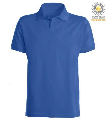 Polo a maniche corte con fondo manica in costina in cotone. Colore Royal Blue