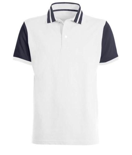Polo mezza manica bicolore con righe in contrasto sul colletto, maniche bicolore. Colore Bianco/Blu