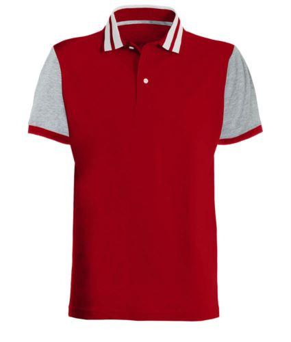 Polo mezza manica bicolore con righe in contrasto sul colletto, maniche bicolore. Colore Rosso/Grigio Melange