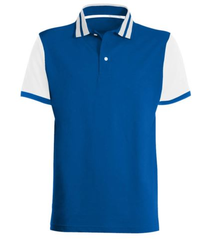 Polo mezza manica bicolore con righe in contrasto sul colletto, maniche bicolore. Colore Blu Royal/Bianco