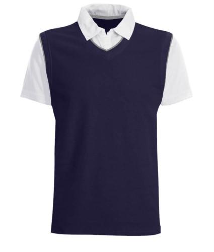 Polo maniche corte con colletto e maniche in contrasto, piping in contrasto. Colore Blu Navy/Bianco