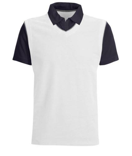 Polo maniche corte con colletto e maniche in contrasto, piping in contrasto. Colore Bianco/Blu