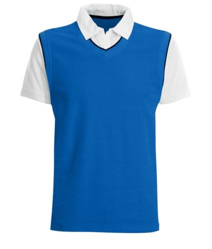 Polo maniche corte con colletto e maniche in contrasto, piping in contrasto. Colore Azzurro Royal/Bianco