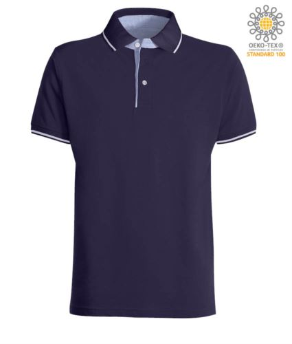 Polo manica corta bicolore, interno collo e fessino in Oxford celeste, colletto e maniche con dettaglio in contrasto. Colore Blu Navy / Bianco