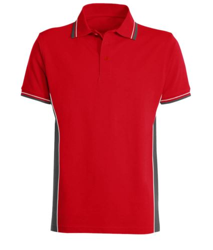 Polo manica corta bicolore con doppio piping bicolore su colletto, fondo manica e fascia laterale. Colore rosso/grigio