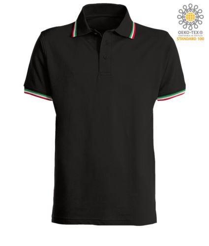 Polo manica corta con profilo tricolore sul colletto e fondo manica, in cotone. Colore nero