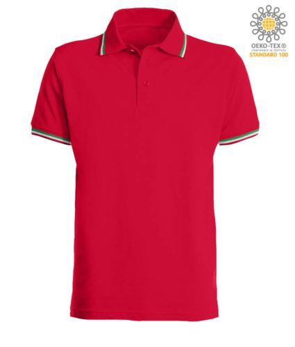 Polo manica corta con profilo tricolore sul colletto e fondo manica, in cotone. Colore rosso
