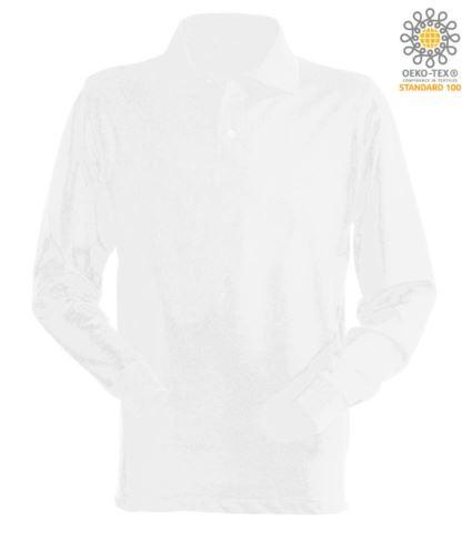 Polo manica lunga da lavoro 100% Cotone pettinato, colore bianco
