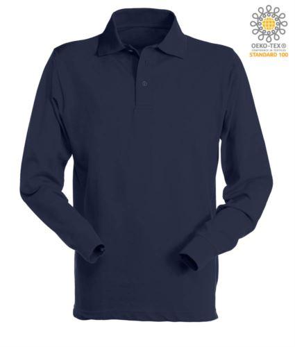 Polo manica lunga da lavoro 100% Cotone pettinato, colore blu navy