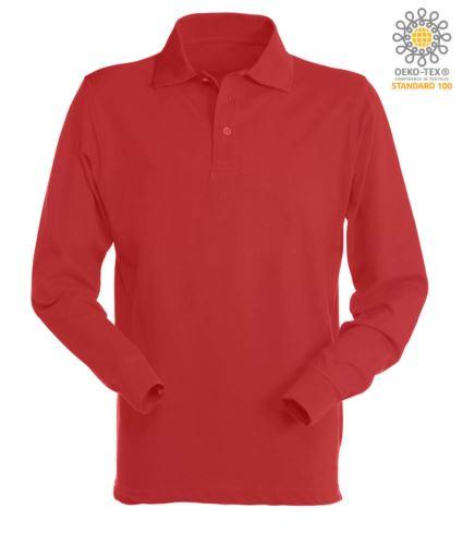 Polo manica lunga da lavoro 100% Cotone pettinato, colore rosso