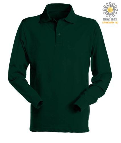 Polo manica lunga da lavoro 100% Cotone pettinato, colore verde bottiglia