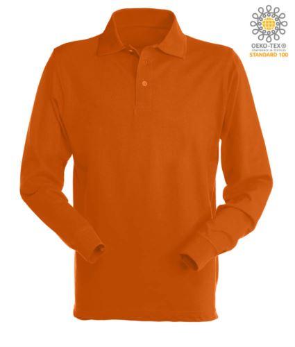 Polo manica lunga da lavoro 100% Cotone pettinato, colore arancione