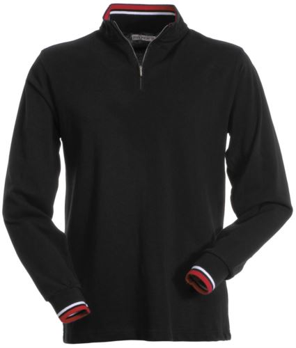 Polo manica lunga, con chiusura mezza zip, profilo colorato su interno colleto e bordo maniche. Colore nero